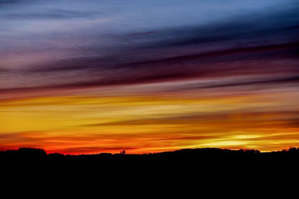 sunset, silhouette, landscape